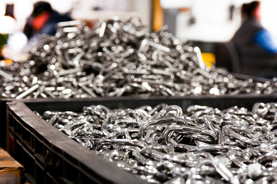 Bins of Carabiners at Omega Pacific Factory