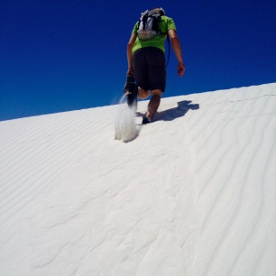 Andreas walking in White Sands National Park