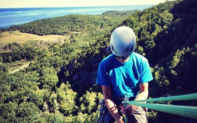 Black Diamond Vector - rapping a climb in Acadia, ME