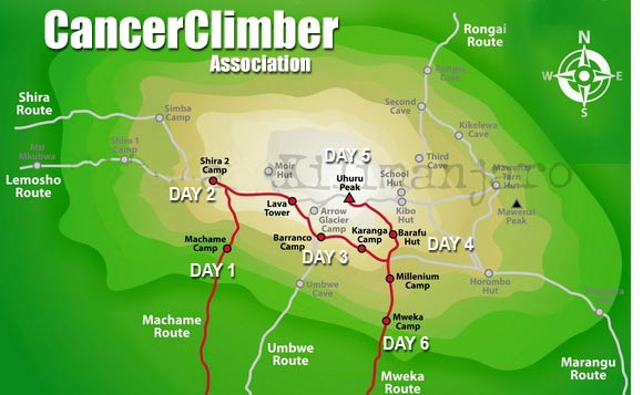 CancerClimber Kili Map
