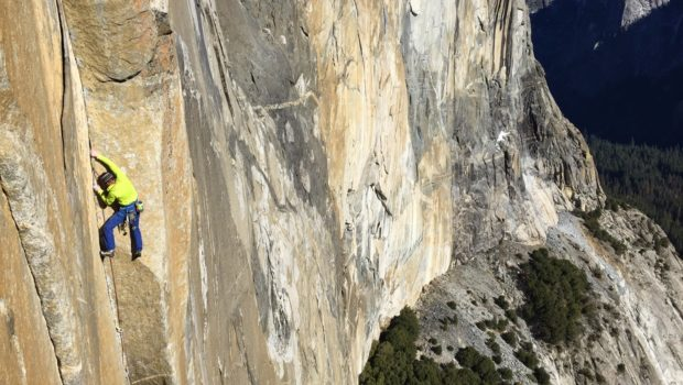 Tommy sending Pitch 11 on the Dawn Wall