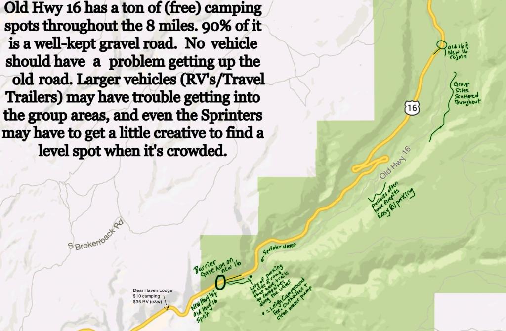 Map of camping in Ten Sleep