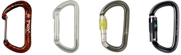D shaped carabiners