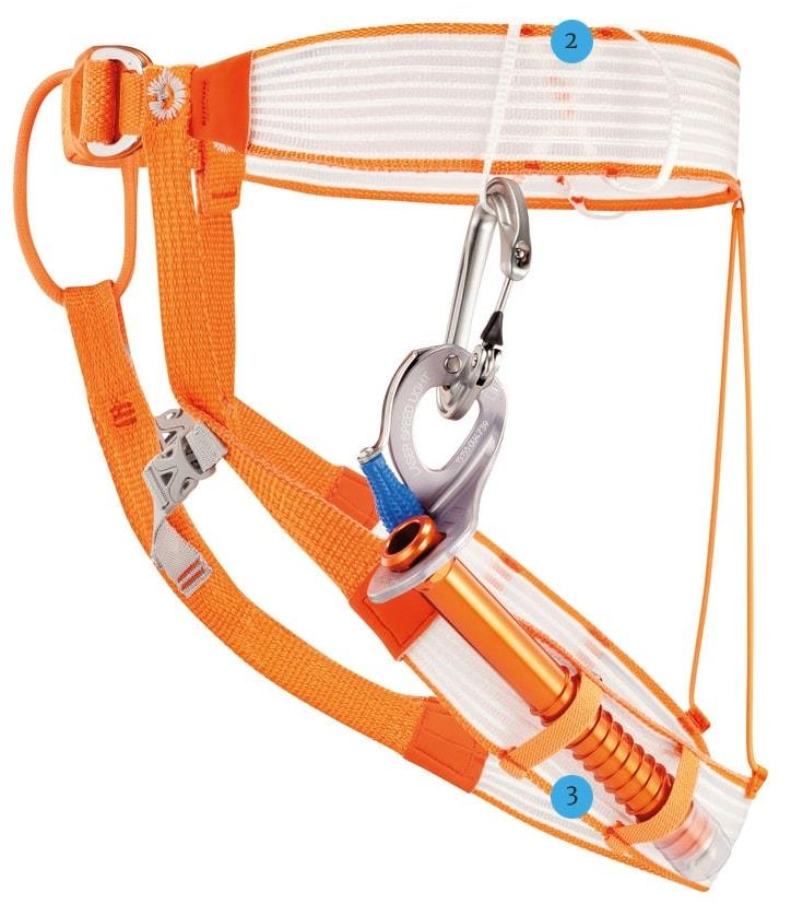 Petzl Altitude Harness side view with ice screw