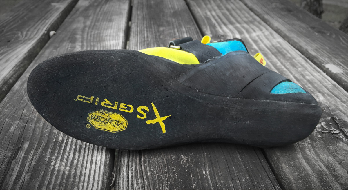 XS Grip sole rubber. Note: This is not the same as XS Grip2 rubber which is a little harder and performs more constantly in a wider range of temperatures.