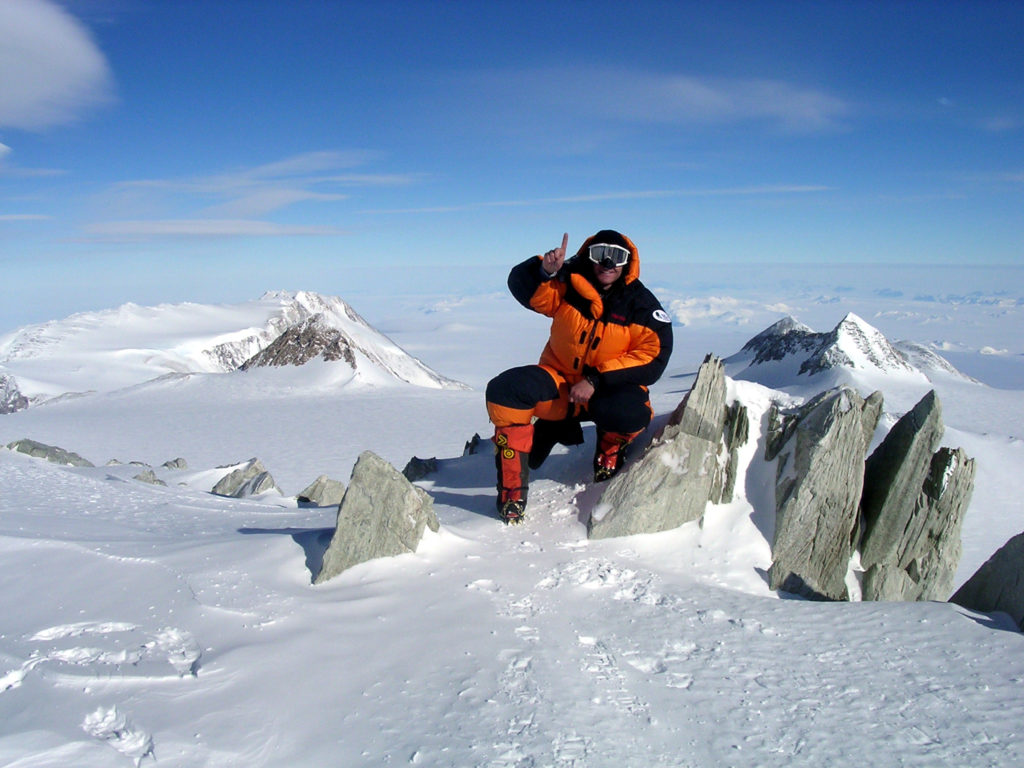 Sean Swarner on the Vinson Summit, Antartica