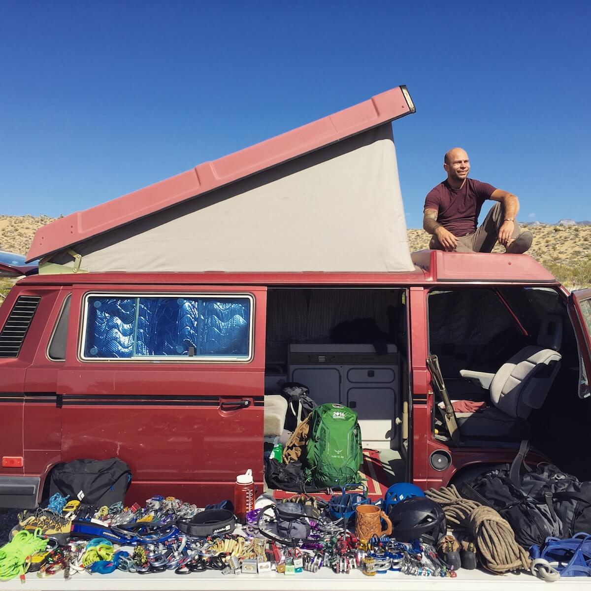 On The Road Gear Storage with van.surf.climb 1