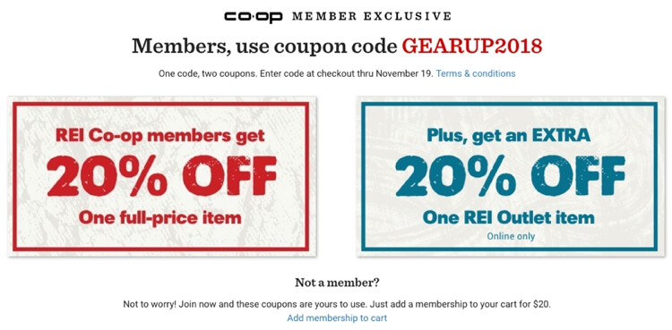 REI Coop Coupons 2018