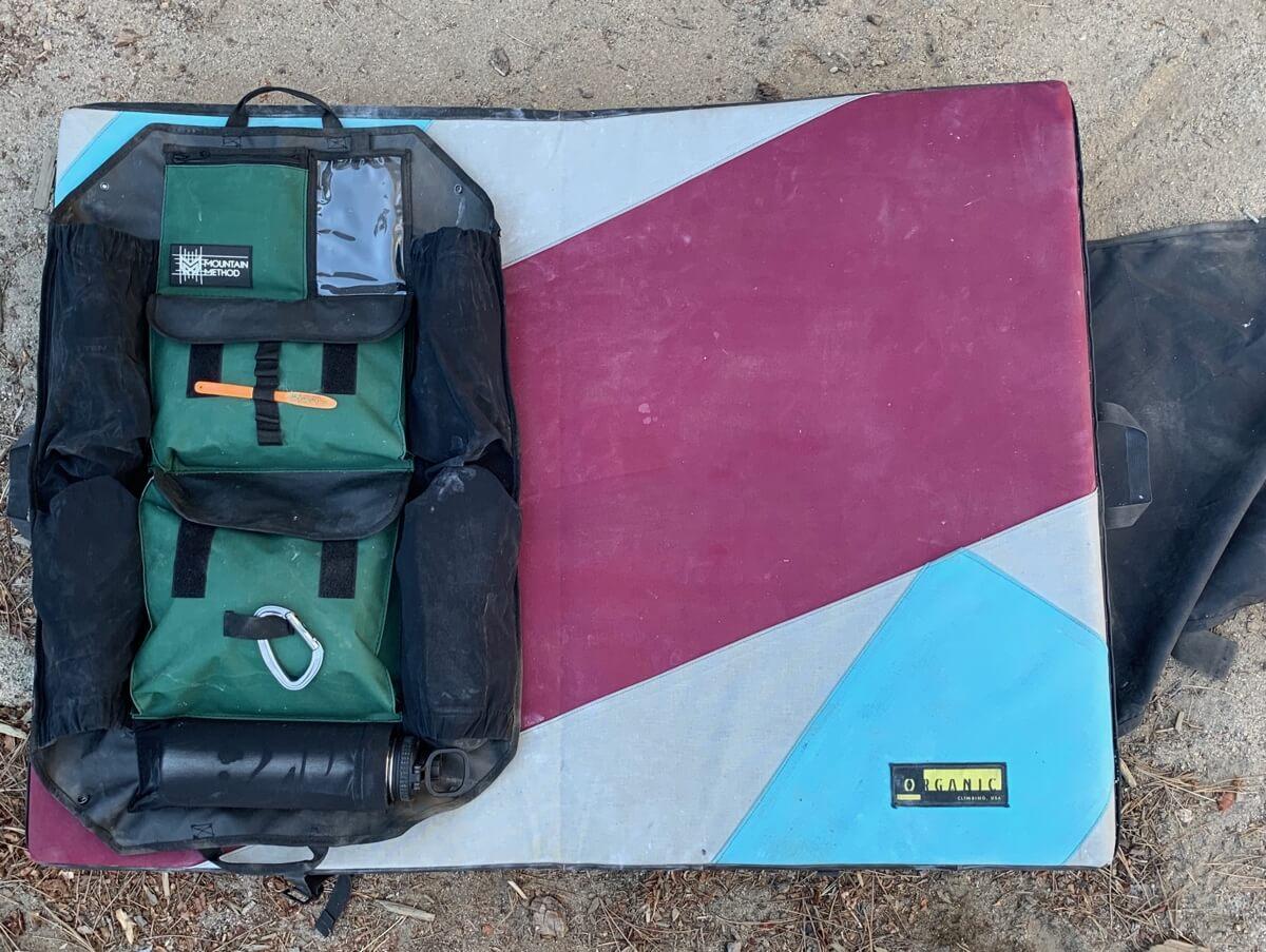 Boulder Caddy on Bouldering Pad