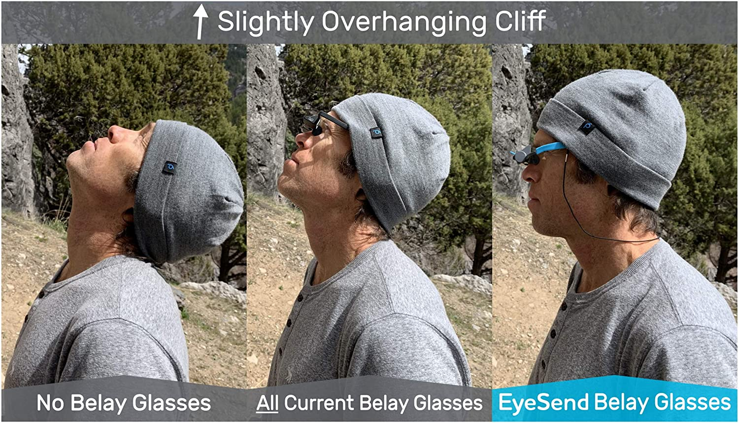 Overhanging Cliff PitchSix Belay Glasses neck changes