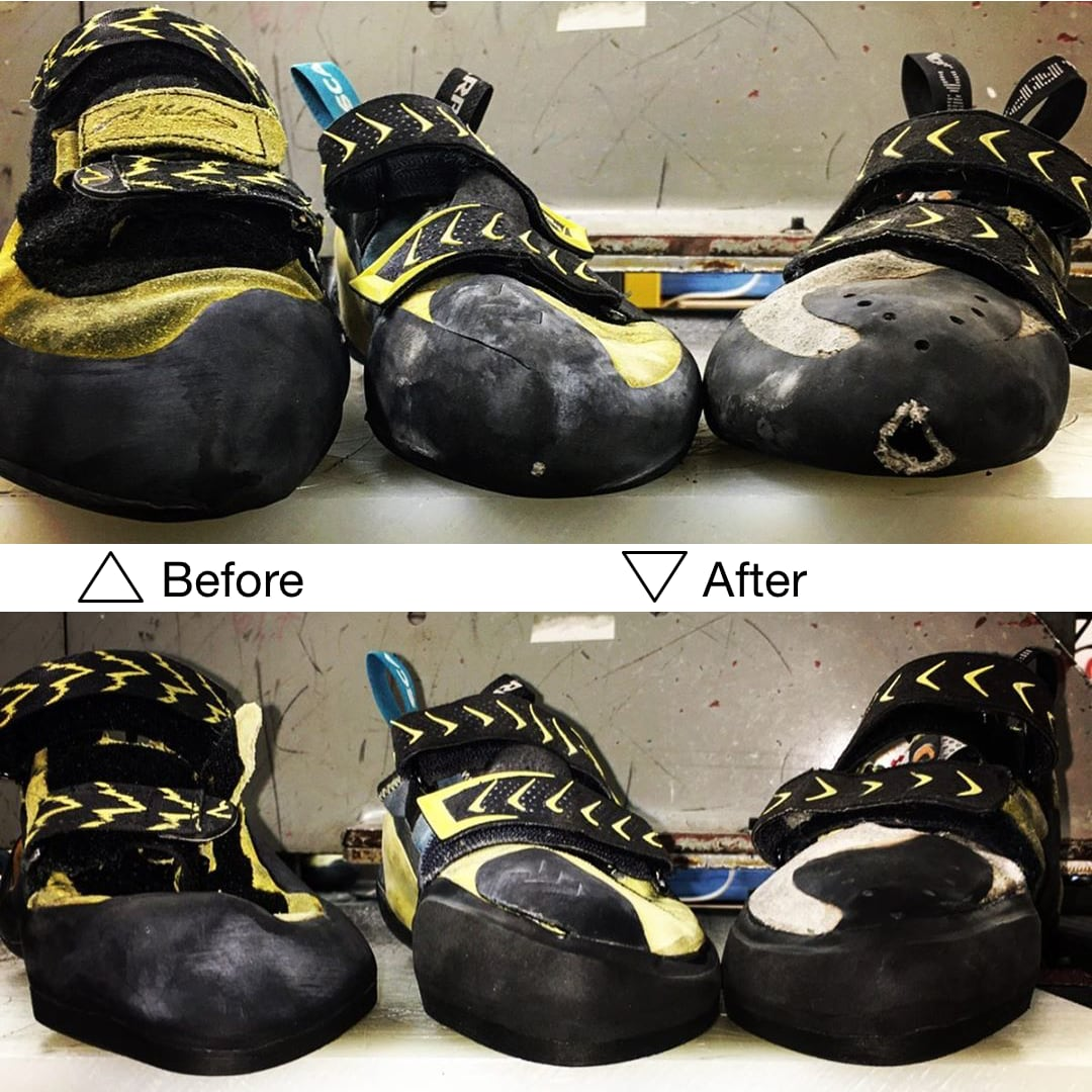 climbing shoes before and after a resole