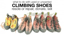 resole repair recycle upcycle donate sell climbing shoes
